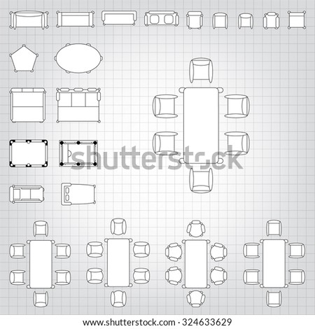 Set simple 2d flat vector icons stock vector 324633629 shutterstock set of simple 2d flat vector icons furniture for floor plan outline on blueprint technical grid malvernweather Choice Image