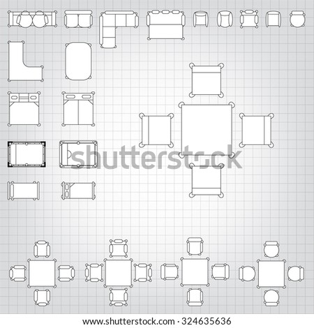 Set simple 2d flat vector icons stock vector 324635636 shutterstock set of simple 2d flat vector icons furniture for floor plan outline on blueprint technical grid malvernweather Choice Image