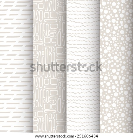 Set of 4 simple doodle seamless patterns. Neutral textures. Vector illustration - stock vector