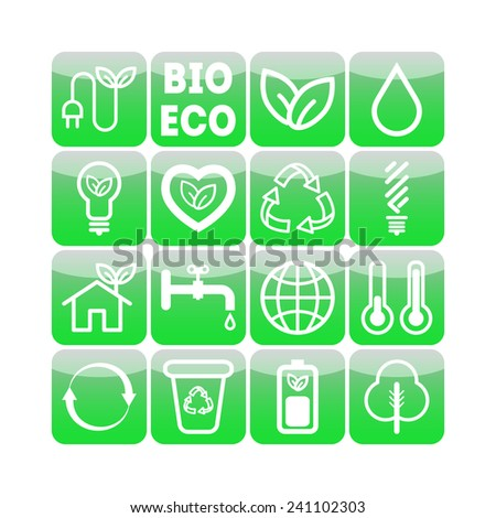 Set of simple ecology icons