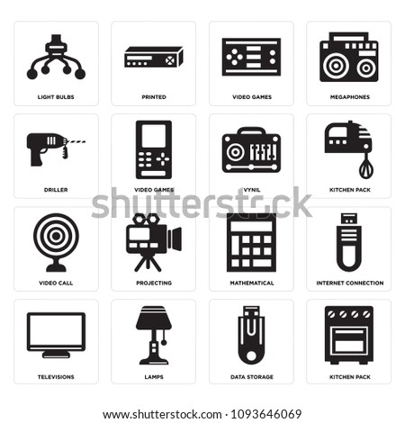 Set 16 Simple Editable Icons Such Stock Vector 1093646069 Shutterstock