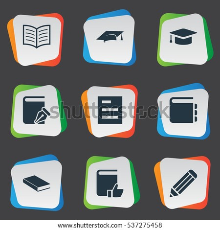 Set Of 9 Simple Education Icons. Can Be Found Such Elements As Recommended Reading, Academic Cap, Notebook And Other.