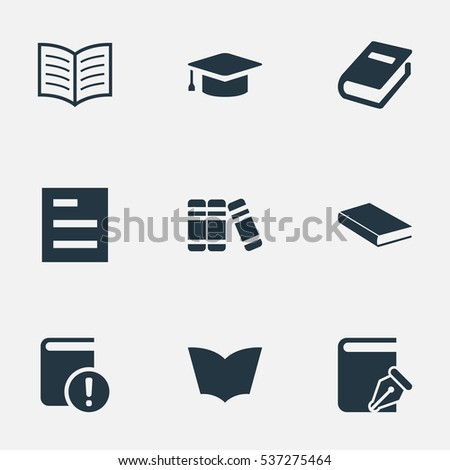 Set Of 9 Simple Education Icons. Can Be Found Such Elements As Tasklist, Book Page, Bookshelf And Other.
