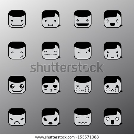 Set of simple emotion face symbols icons. different emotions - stock vector