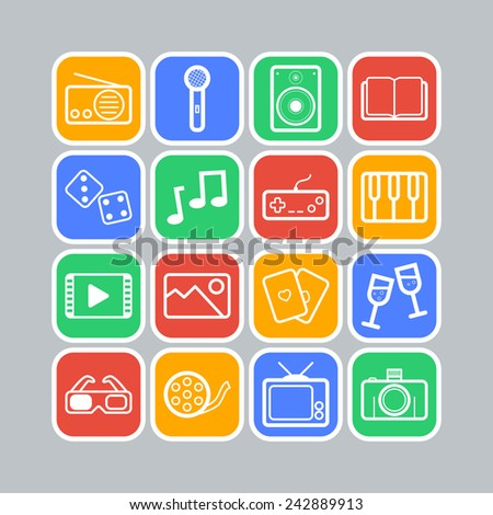 Set of simple entertainment icons