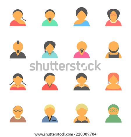 set of simple face avatar people icons. isolated on white background. flat style trendy modern vector illustration