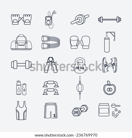 Set of simple fitness thin line icons for boys. Vector illustration of sport symbols in flat style - stock vector