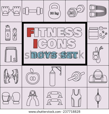 Set of simple fitness thin line icons for boys. Vector illustration of sport symbols in flat style on squares background - stock vector