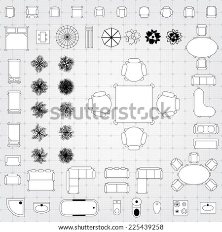 Furniture Floor Plan architectural symbols stock images, royalty-free images & vectors