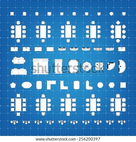 Furniture blueprint stock images royalty free images vectors set of simple flat vector icons furniture for floor plan outline on blueprint technical grid background malvernweather Choice Image