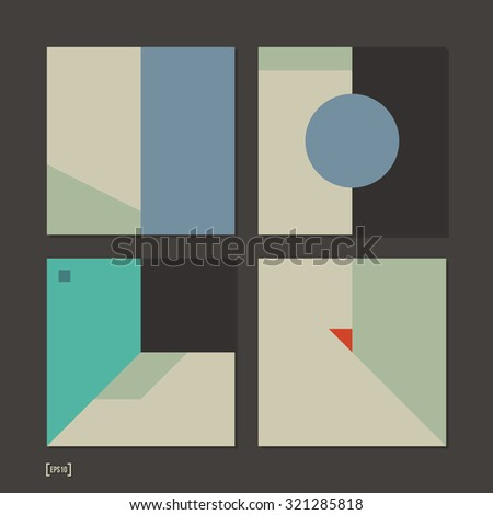 Set of 4 simple geometric layouts. Useful for presentations and web design. EPS10 vector template