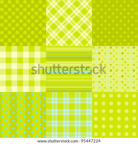 Set of simple green patterns: polka dot, scottish plaid and other. Can be used as textile, paper pattern or digital scrap-booking - stock vector