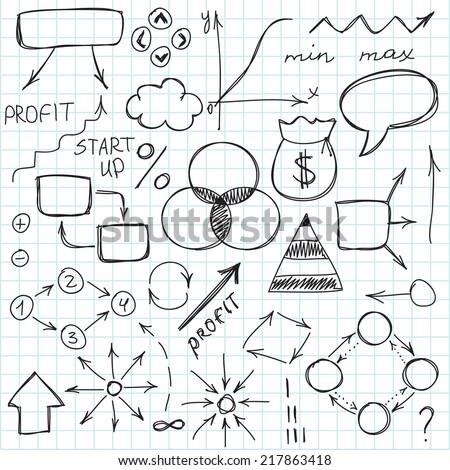 Set of simple hand drawn signs and symbols. Business and start up. Vector illustration. Easy to paste to any background - stock vector
