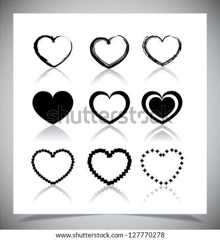 Set of simple heart icons. Vector illustration - stock vector
