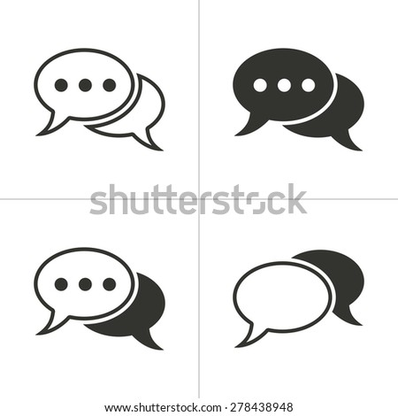 Set of simple icons black chat on white background. Vector illustration. - stock vector