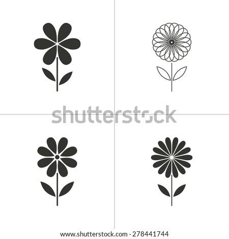 Set of simple icons black flower on white background. Vector illustration. - stock vector