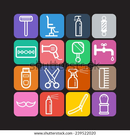 Set of simple icons for barbershop - stock vector