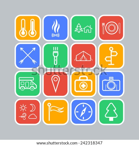 Set of simple icons for camping and traveling