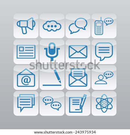 Set of simple icons for chat, conversation, mail, web and application