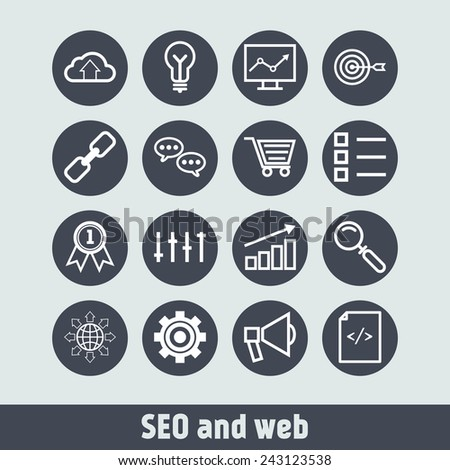 Set of simple icons for search engine optimization, business, web, applications and management
