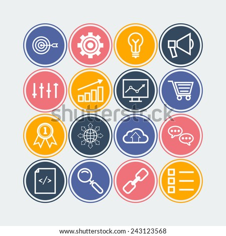 Set of simple icons for search engine optimization, business, web, applications and management - stock vector