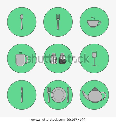 Set of simple icons for table spoon, knife, fork, plate, cup, mug, teapot, salt cellar, pepper pot, wine glass in circles on green background.