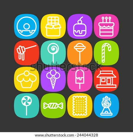 Set of simple icons with sweets and candis - stock vector