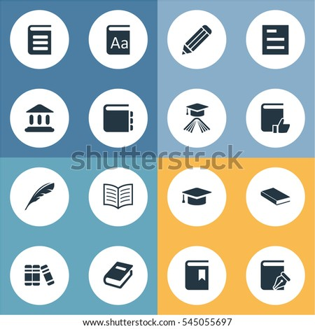 Set Of 16 Simple Knowledge Icons. Can Be Found Such Elements As Graduation Hat, Notebook, Plume And Other.