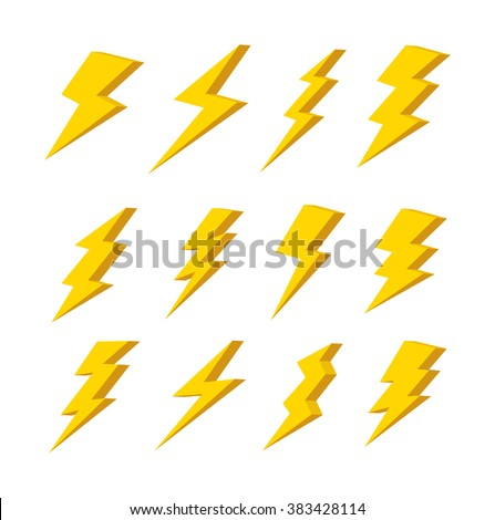 set of simple lightning doodle - stock vector