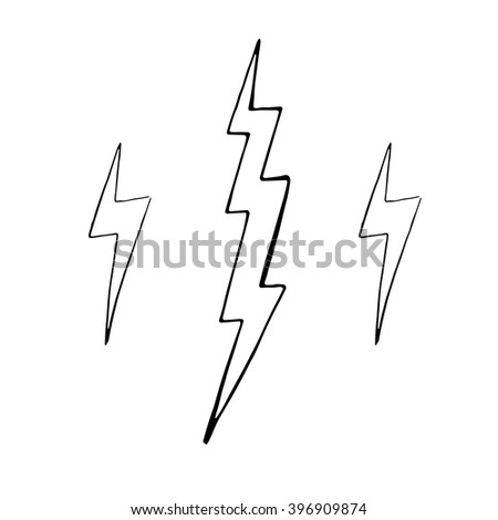 Set of simple lightning doodle, group of hand drawn objects - stock vector