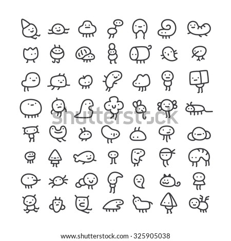 set of simple line art monster characters for use in design - stock vector