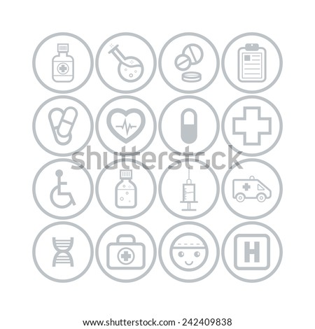 Set of simple medical icons - stock vector