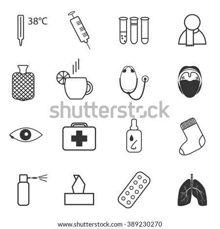 Set of simple medical icons about common cold and treatment - stock vector