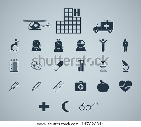 Set of simple medical icons for text decoration. Vector image. - stock vector