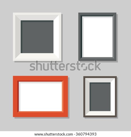 stock vector set simple modern picture frames wall flat illustration 11x14 for oil paintings uk