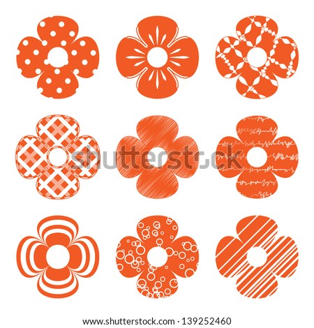 set of simple orange flowers - stock vector