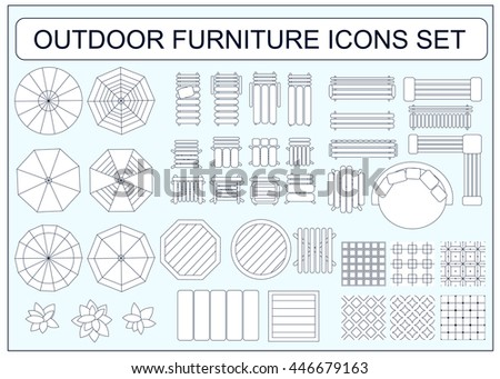 Set of simple outdoor furniture vector icons as design elements - beach chair, bench, table, umbrella, round sofa, seamless floor tiles samples, sofa, chair, plants, armchair