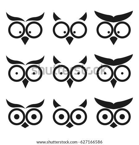 set simple owl icon isolated on stock vector 627166586 shutterstock rh shutterstock com Owl Eyes Drawing cartoon owl eyes cute