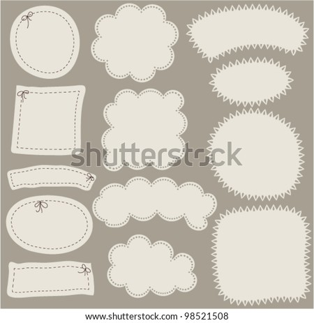 Set of simple paper labels. Vector illustration with design elements looks as clouds, seams  and patch. - stock vector