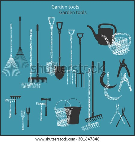 Set of simple plane vector garden icons and chalk icons - stock vector