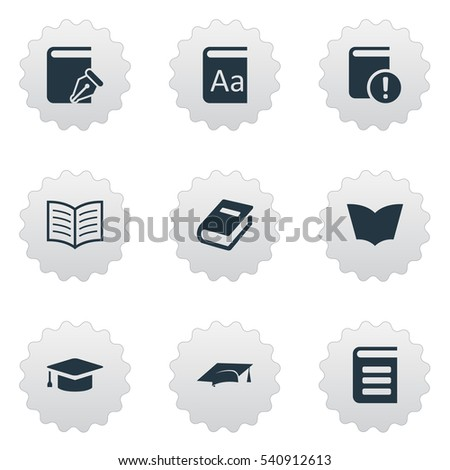 Set Of 9 Simple Reading Icons. Can Be Found Such Elements As Academic Cap, Encyclopedia, Reading And Other.