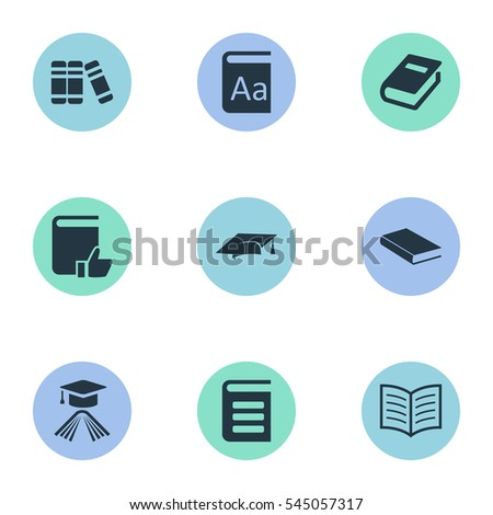 Set Of 9 Simple Reading Icons. Can Be Found Such Elements As Encyclopedia, Recommended Reading, Academic Cap And Other.
