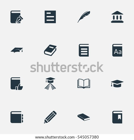 Set Of 16 Simple Reading Icons. Can Be Found Such Elements As Notebook, Library, Sketchbook And Other.