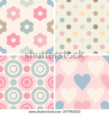 Set of simple romantic patterns (dots, geometric, flowers, hearts). Light pastel colors. Endless texture can be used for children's wear, wallpaper, web background, wrapping, packaging etc. - stock vector