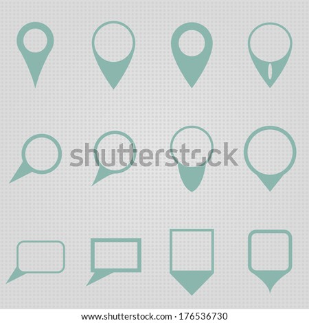 Set of simple, round and rectangular map pointers in retro colors. - stock vector