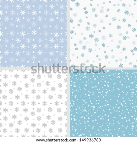 Set of simple seamless backgrounds with snowflakes. Can be used for wallpaper, pattern fills, textile, web page background, surface textures. Vector illustration.  - stock vector