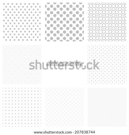 Set of simple seamless dot backgrounds, vector patterns for your design - stock vector