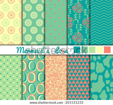 "Set of 10 simple seamless patterns. ""Mermaid's Love"" color palette."