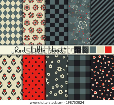 "Set of 10 simple seamless patterns. ""Red Little Hood"" color palette. - stock vector"
