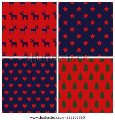 Set of simple seamless retro Christmas patterns - with stars, hearts, deers, xmas trees. Happy New Year backgrounds. Vector design for winter holidays.   - stock vector